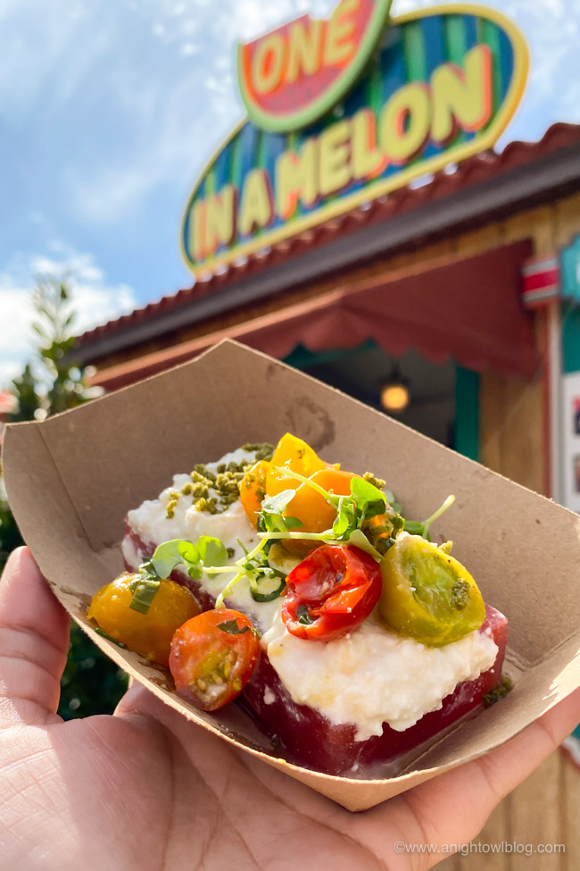 Compressed Watermelon and Tomato from One in a Melon | From Mickey-Shaped Macarons to the Carbonara Garlic Mac & Cheese, there are so many great bites and brews to discover at the Disney California Adventure Food and Wine Festival!