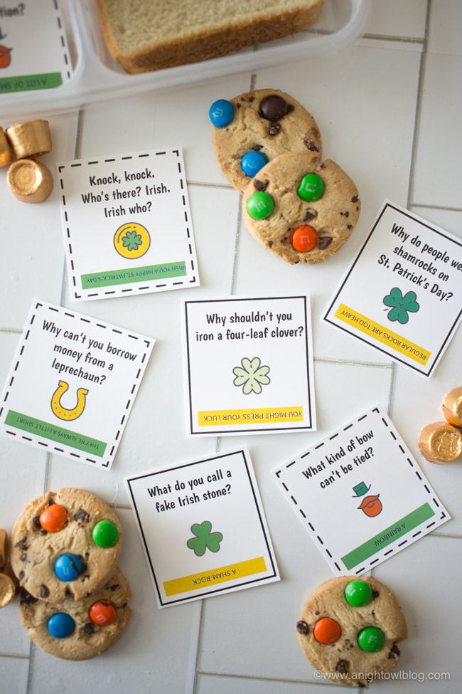 Download and print these St. Patrick's Day Lunch Box Jokes, perfect for your kiddos lunch box or snacks around the holiday.