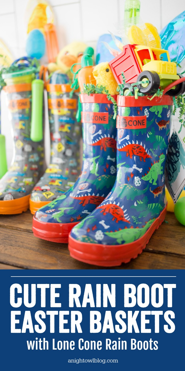 Such a unique and fun Easter basket idea, this year create Rain Boot Easter Baskets for your kids with Lone Cone Rain Boots!