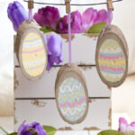 Painted Wood Slice Easter Eggs