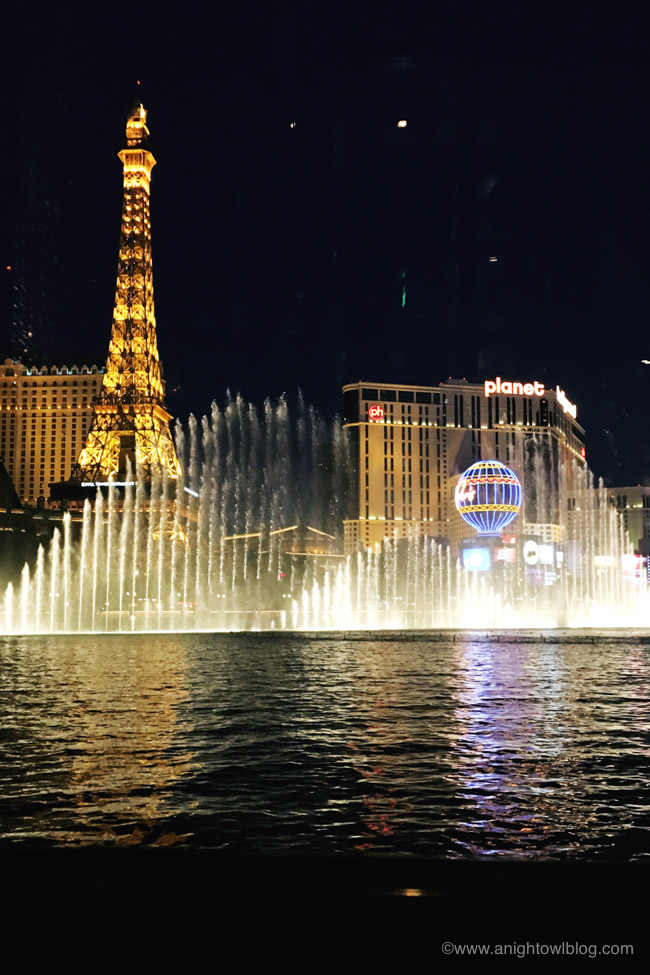 View of Bellagio fountains from Prime Steakhouse
