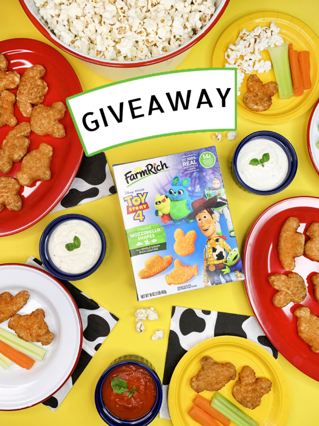 enter to win a Fun Movie Night In A Box, with a Disney and Pixar's Toy Story 4 download, Farm Rich product vouchers, a $250 Visa gift card and more!