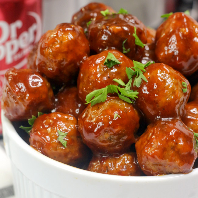 These delicious Instant Pot Dr. Pepper Meatballs are perfect for game day or your next party and are made in the convenience of your pressure cooker!