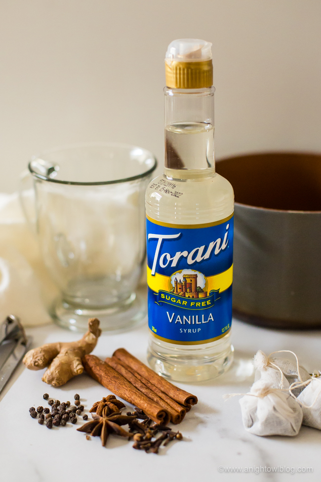 bottle of torani syrup, spices and tea bags